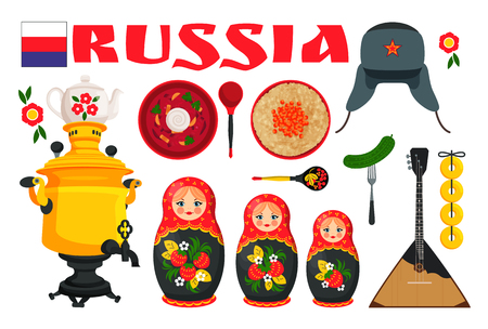 Russia Set Poster with Items Vector Illustration