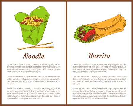 Noodle served with chopsticks and traditional mexican burrito with tomatoes, salad leaves. Asian meals fast food services set vector illustration