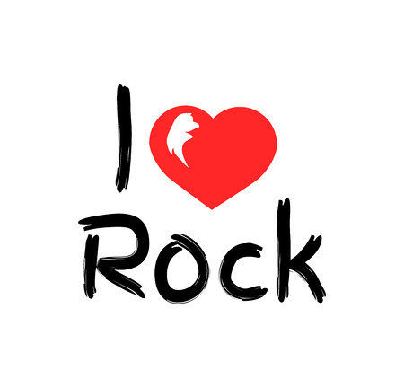 I Love Rock Music Poster, Vector Illustration
