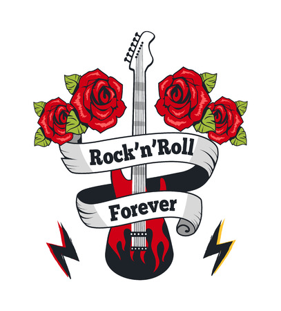 Rock-n-Roll Forever Guitar Vector Illustration Illustration