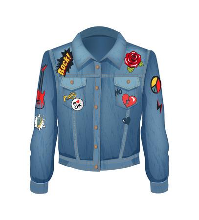 Parches de música rock en la chaqueta de mezclilla. Camisa jeans con rosas en flor y gestos de rockeros. Dedos con cuernos y corazón roto, ilustración vectorial