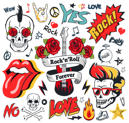Rock-And-Roll Forever Colorful Illustration Set Vettoriali