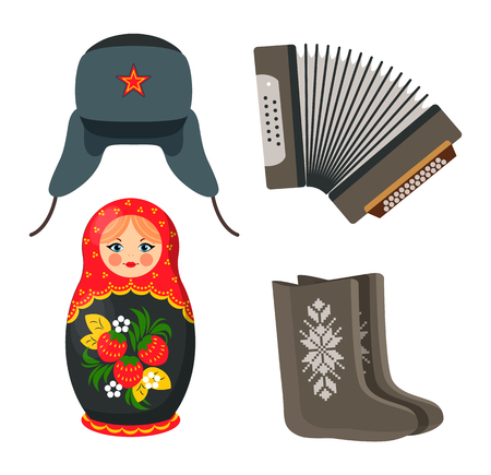 Doll and Winter Hat Russian Vector Illustration Foto de archivo - 111002919