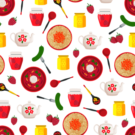 Pickled cucumber on fork and raspberry jam in jar seamless pattern. Borshch Russian dish served in wooden bowl and honey, icons vector illustration
