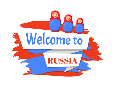Welcome to Russia Patriotic Color Greeting Poster Standard-Bild - 111002921