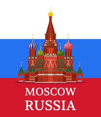 Saint Basil Cathedral on Russian Flag Color Poster Ilustrace