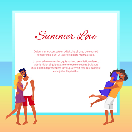 Lovely Hugging Couples on Summer Beach with Frame 写真素材