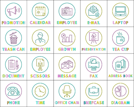 Promotion and Calendar Set Vector Illustration Stock Photo