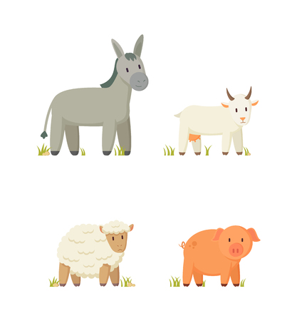 Donkey and Goat Icons Set Vector Illustration
