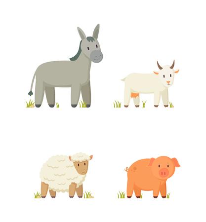Donkey and Goat Icons Set Vector Illustration