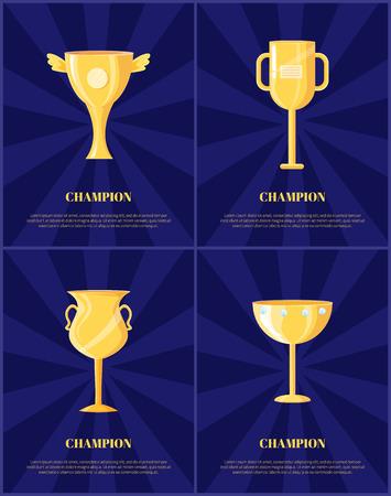 Champion Golden Trophy Cup Vector Illustration