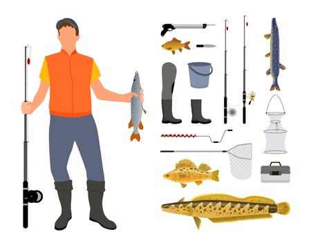 Angler and Fishing Tool and Clothing Illustration