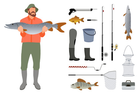 Fisherman with fish in hand and tackle. Rod and landing net, bucket and box, harpoon and knife, rubber boot, trout and perch and crucian vector icons Illusztráció