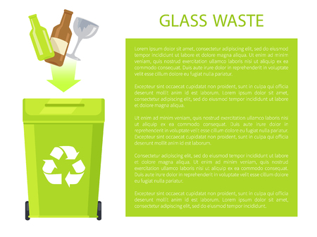Glass Waste Poster and Text Vector Illustration 向量圖像