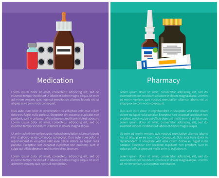 Medication and Pharmacy Items Vector Illustration