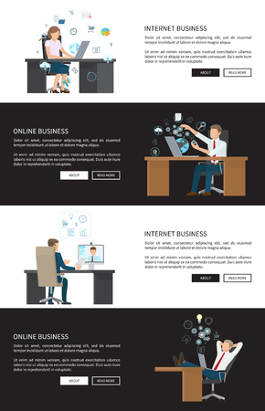 Internet and Online Web Pages Vector Illustration