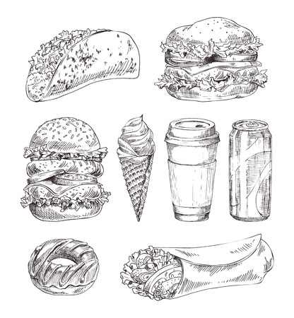Fast appetizers set isolated on white backdrop, meat burrito and taco near huge fresh hamburger, donut and soft drink, coffee cup vector illustration