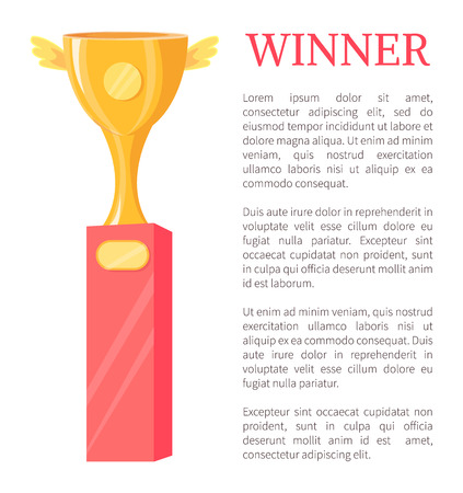 Winner golden trophy cup vector illustration. Shiny gold award, goblet with wings and tags on pedestal rewarding icon, poster badge, cartoon style