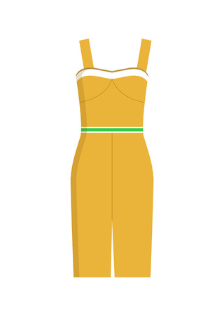 Modern fashionable summer knee-length stylish dress of yellow color with thin green belt isolated cartoon vector illustration on white background