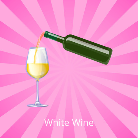 White Wine Poster with Bottle Wines Glass Vector