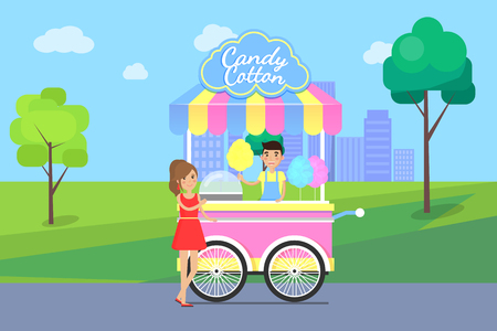 Candy Cotton Poster and Seller Vector Illustration 版權商用圖片 - 111003403