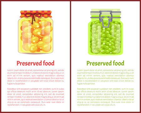 Preserved Food Poster Pea and Olives in Glass Jars