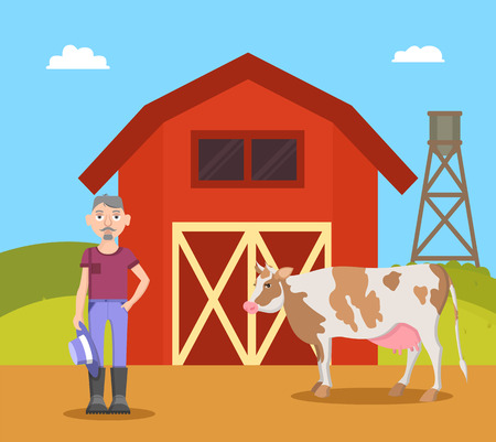 Farm and Farmer with Cow, Vector Illustration