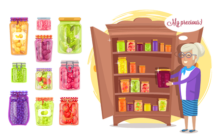 Smiling old lady holds in hand preserved fruit and veggies in jar, stand near cupboard, pickles and marmalade in pots, my precious vector illustration