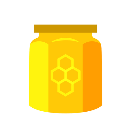 Honey Canned in Jar Product Vector Illustration