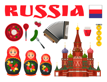 Russian culture design vector icons set. Church and flag, national food and accordion, nesting doll and pickled cucumbers, borsch and berries symbols of Russia