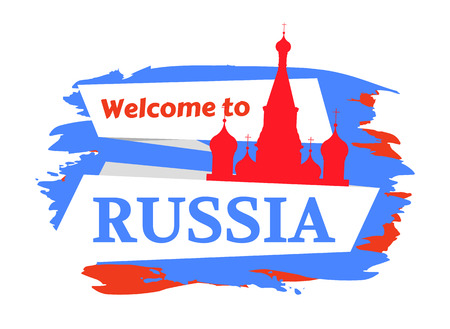 Welcome to Russia Greeting Colored Vector Poster Illustration