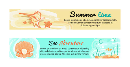 Summer Time Sea Adventures Set of Banners