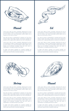 Oyster and Eel Seafood Set Vector Illustration