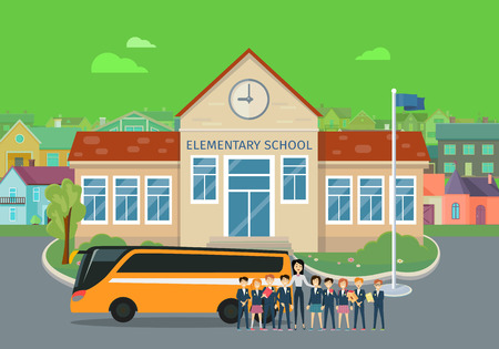 Elementary and High School Flat Vector Concepts Stockfoto