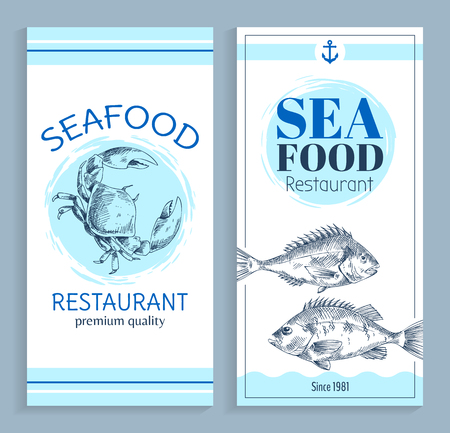 Vector Hand Drawn Seafood Restaurant Banner Set Stock Photo
