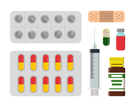 Medicine Set with Blister Vector Illustration