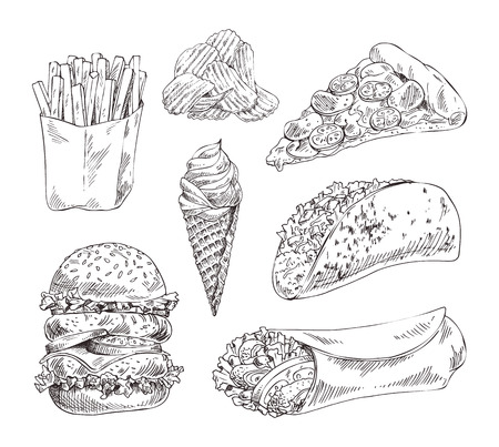Fast food set hand drawn vector monochrome sketch