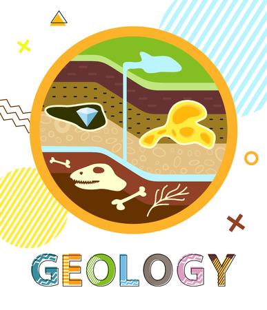 Affiche Géologie Couches Sol Illustration Vectorielle