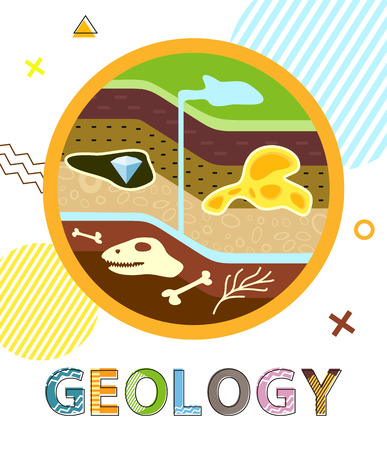 Geology Poster Soil Layers Vector Illustration