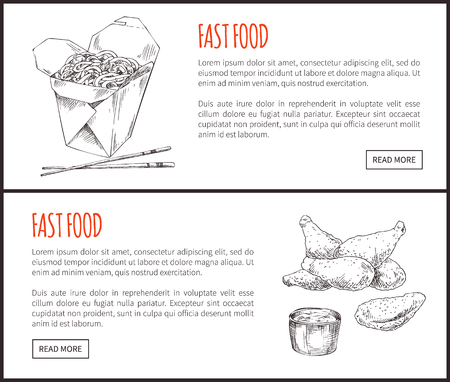 Fastfood posters noodles served with chopsticks set takeaway. Monochrome sketches outline. Fried chicken wings and sauce vector illustration