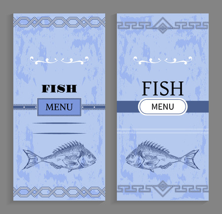 Template of fish menu cover with fishery icon. Sea bass sketch at bottom of vector cover for restaurant with geometric ornament at top and bottom edge