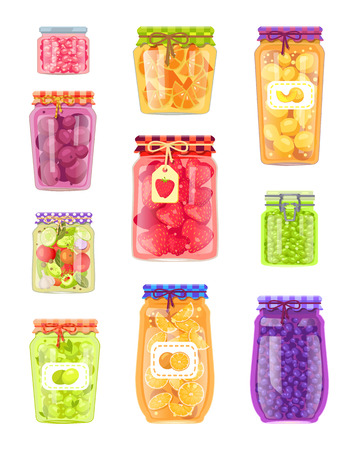Preserved fruit and vegetables set vector illustration. Olive and salad, plum and peach, strawberry and peas, orange and berry jam, in glass jars Çizim