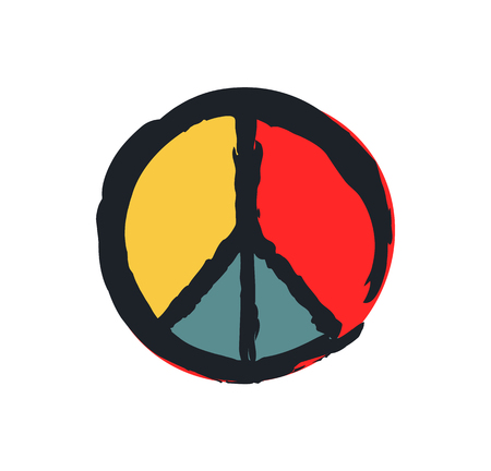 Peace Sign Colorful Drawing Isolated on White