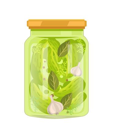 Komkommers met laurierblaadjes en knoflook, geconserveerd voedsel Vector Illustratie