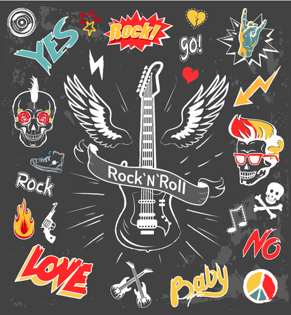 Rock-n-Roll Forever Badges Vector Illustration Imagens - 111003598