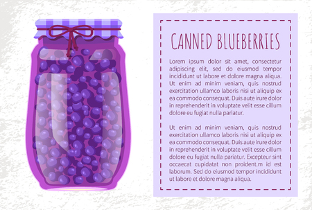 Canned Blueberries or Blackberries in Glass Jar
