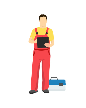 Car repair service worker in uniform with toolkit box. Man holds notepad and writes down near capacious case of special tools vector illustration. Иллюстрация