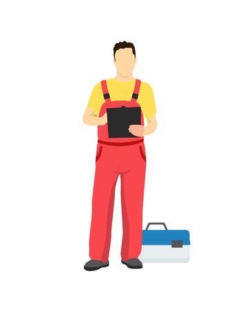 Travailleur du service de réparation automobile en uniforme avec boîte à outils. L'homme tient un bloc-notes et écrit près d'un grand boîtier d'illustration vectorielle d'outils spéciaux. Vecteurs