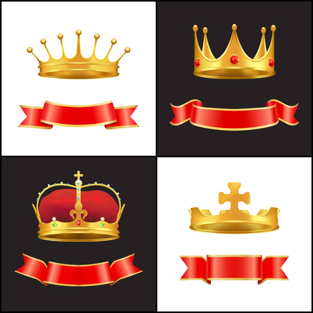 Royal gold crown with jewel and red ribbons decor Stock Illustratie
