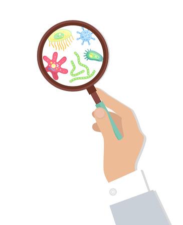 Bacteria in Magnifying Glass Vector Illustration Illustration